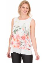Bouquet Printed Sleeveless Crepe Top Ivory/Coral - Gallery Image 1
