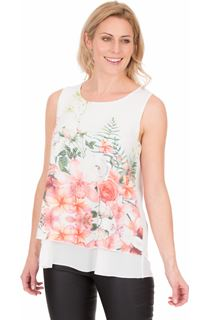 Bouquet Printed Sleeveless Crepe Top