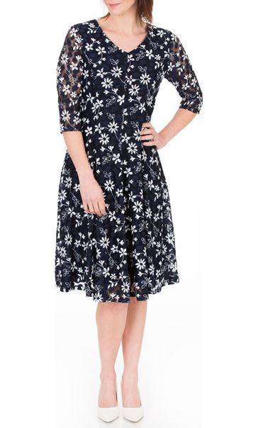 Anna Rose Panelled Lace Midi Dress Navy