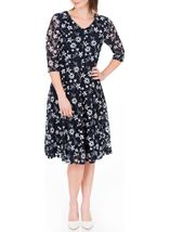 Anna Rose Panelled Lace Midi Dress Navy - Gallery Image 1