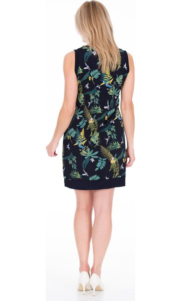 Garden Printed Sleeveless Stretch Midi Dress