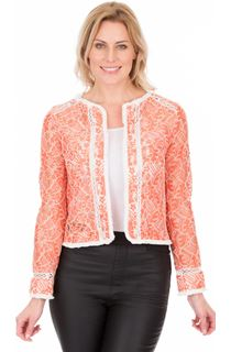 Long Sleeve Lace Jacket - Orange