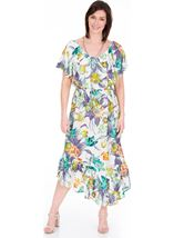 Printed Asymmetric Maxi Dress