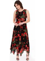 Printed Smocked Maxi Dress Black/Ruby - Gallery Image 1