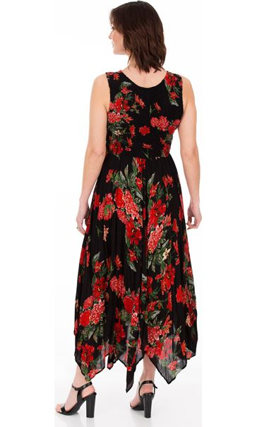 Printed Smocked Maxi Dress Black/Ruby - Gallery Image 2