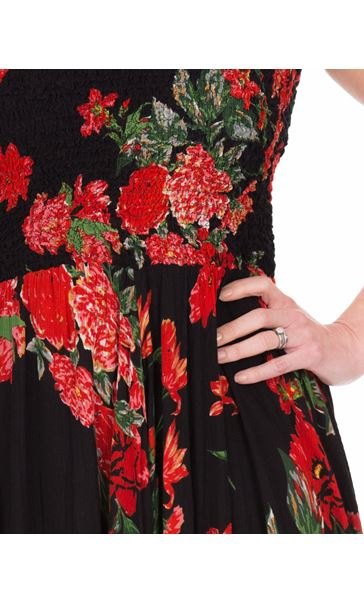 Printed Smocked Maxi Dress Black/Ruby - Gallery Image 3