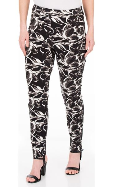 Printed Slim Leg Stretch Trousers Black/White - Gallery Image 1