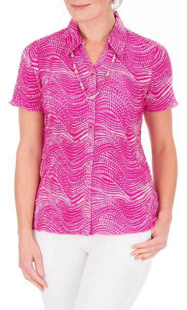 Anna Rose Pleated Blouse With Necklace Magenta