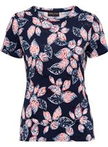 Anna Rose Textured Leaf Print Top Navy/Red/White - Gallery Image 1