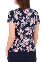 Anna Rose Textured Leaf Print Top Navy/Red/White - Gallery Image 3