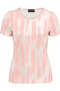 Anna Rose Metallic Stripe Short Sleeve Top - Orange