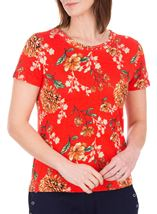 Anna Rose Floral Print Stretch Top Red - Gallery Image 1