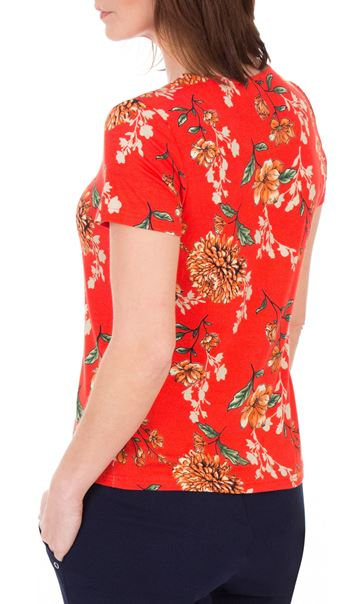 Anna Rose Floral Print Stretch Top Red - Gallery Image 2