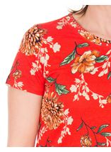 Anna Rose Floral Print Stretch Top Red - Gallery Image 3