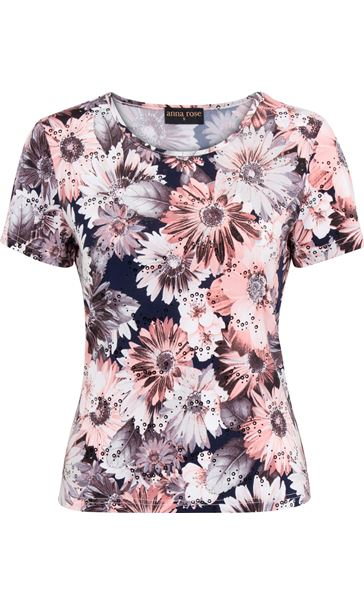Anna Rose Printed Short Sleeve Stretch Top Coral/Multi