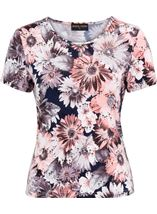 Anna Rose Printed Short Sleeve Stretch Top Coral/Multi - Gallery Image 1