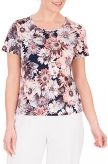 Anna Rose Printed Short Sleeve Stretch Top