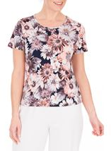 Anna Rose Printed Short Sleeve Stretch Top Coral/Multi - Gallery Image 2
