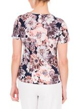 Anna Rose Printed Short Sleeve Stretch Top Coral/Multi - Gallery Image 3