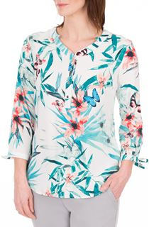 Anna Rose Tie Cuff Print Top