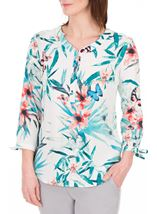 Anna Rose Tie Cuff Print Top White/Red - Gallery Image 1