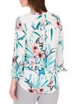 Anna Rose Tie Cuff Print Top White/Red - Gallery Image 2