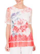 Anna Rose Short Sleeve Lace Layered Top Red Multi - Gallery Image 2