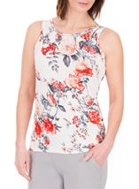 Anna Rose Floral Print Vest White/Red - Gallery Image 1