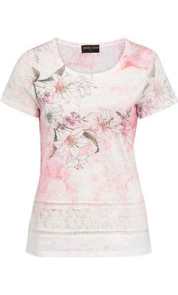 Anna Rose Lace Sleeve Print Top White/Red/Multi