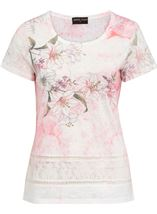 Anna Rose Lace Sleeve Print Top White/Red/Multi - Gallery Image 1