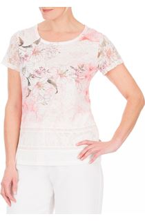 Anna Rose Lace Sleeve Print Top