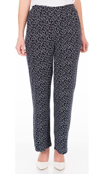 Anna Rose Wide Leg Spot Trousers Navy/White