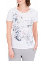 Anna Rose Script And Floral Print Top White/Pink/Blue - Gallery Image 2