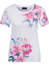 Anna Rose Lace Sleeve Print Top Ivory/Hot Pink - Gallery Image 1