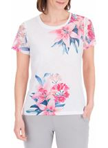 Anna Rose Lace Sleeve Print Top Ivory/Hot Pink - Gallery Image 2