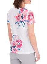 Anna Rose Lace Sleeve Print Top Ivory/Hot Pink - Gallery Image 3