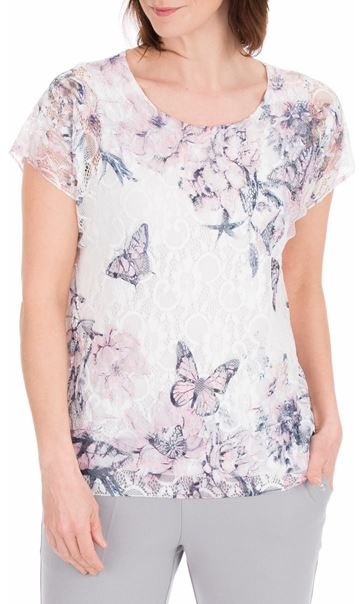 Anna Rose Printed Lace Top White/Pink