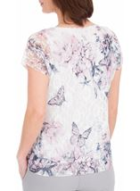 Anna Rose Printed Lace Top White/Pink - Gallery Image 2