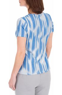 Anna Rose Metallic Stripe Short Sleeve Top - Mid Blue