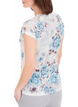 Anna Rose Lace Trim Short Sleeve Top White/Blue - Gallery Image 2