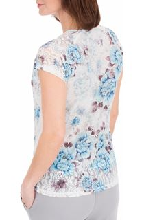 Anna Rose Lace Trim Short Sleeve Top