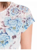 Anna Rose Lace Trim Short Sleeve Top White/Blue - Gallery Image 3