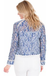 Long Sleeve Lace Jacket - Dutch Blue/Ivory