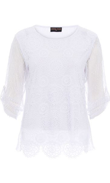 Anna Rose Three Quarter Sleeve Crochet Top White