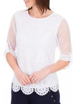 Anna Rose Three Quarter Sleeve Crochet Top White - Gallery Image 2