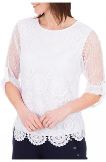 Anna Rose Three Quarter Sleeve Crochet Top