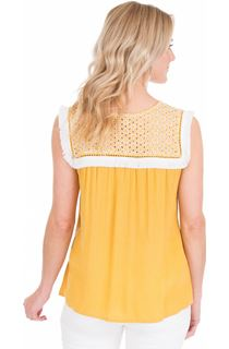 Broderie Anglaise Trim Sleeveless Top - Yellow