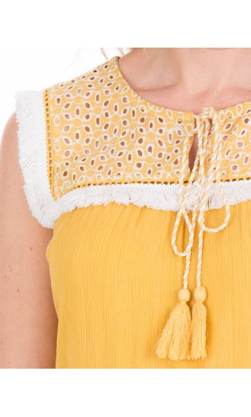 Broderie Anglaise Trim Sleeveless Top Yellow - Gallery Image 3