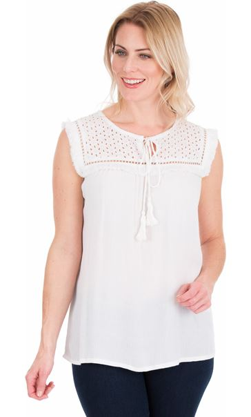 Broderie Anglaise Trim Sleeveless Top - White