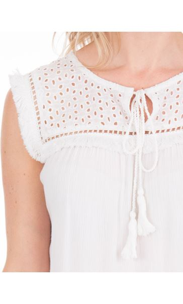 Broderie Anglaise Trim Sleeveless Top White - Gallery Image 3